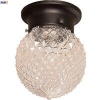 IWHD Nordic Vintage Glass LED Ceiling Lights For Kitchen Hallway Balcony Porch Retro Ceiling Lamp Plafon LED Lamparas De Techo