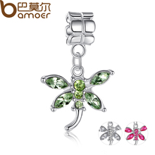 High Quality 925 Silver Green CUBIC ZIRCONIA Butterfly Charm Pendant Fit Pandora Bracelet Necklace Original Jewelry PA5060