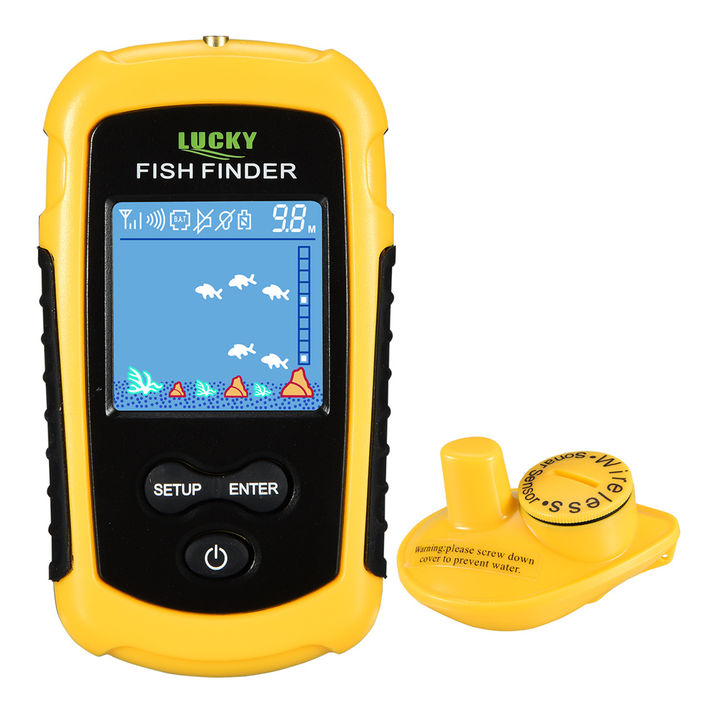Lucky FFCW1108-1 Portable Wireless Sonar FishFinder with 2inch LCD Display Handheld Wireless Fish Finder Transducer Depth Finder runacc smart portable fish finder wireless fishfinder portable fish finder with wireless sonar sensor and lcd display