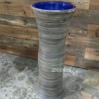 Household Balcony Pedestal Wash Basin Vertical Creative Art Washbasin High quality Bathroom Integral Floor Type Ceramic Basin