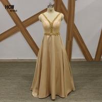 Champagne Long Evening Dress 2018 Exquisite Beaded Lace A Line Floor Length Elegant Formal Dresses Plus Size Women Evening Gown