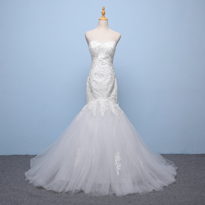 Hot~Popin Skinny Exquisite Lace Jacquard Mermaid Trailing Wedding Dress 953