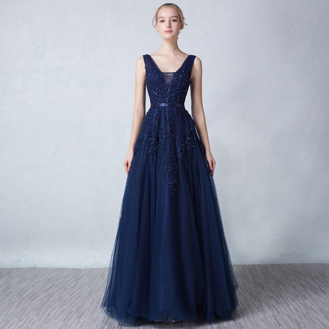 Sexy Long   Evening     Dresses   2019 Floor Length Tulle Vestido De Formatura Longo V Neck Appliques Party   Dresses   In Stock