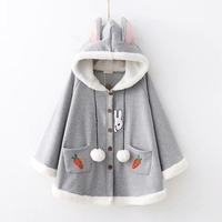 Placket rabbit radish pocket embroidered Plus velvet Shawl cloak hooded coat autumn winter