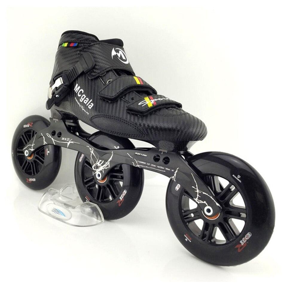 JAPY bottes en Fiber de verre professionnel vitesse patins à roues alignées femmes hommes 3*125 MM roues compétition chaussures de patinage à roulettes course Patines