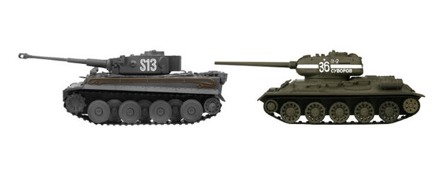 Mini RC Tanks 1/72 Scale VStank Infrared RC Tank German Tiger + Russia T34 Combo Set RC Hobby Toy