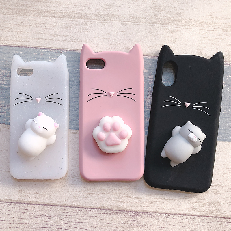 3D Cute Japan Glitter Bearded Cat Case For iphone 5 5S SE X Squishy Cat Cases For iphone 7 8 6 6S Plus Silicone Mobile Phone Bag (19)