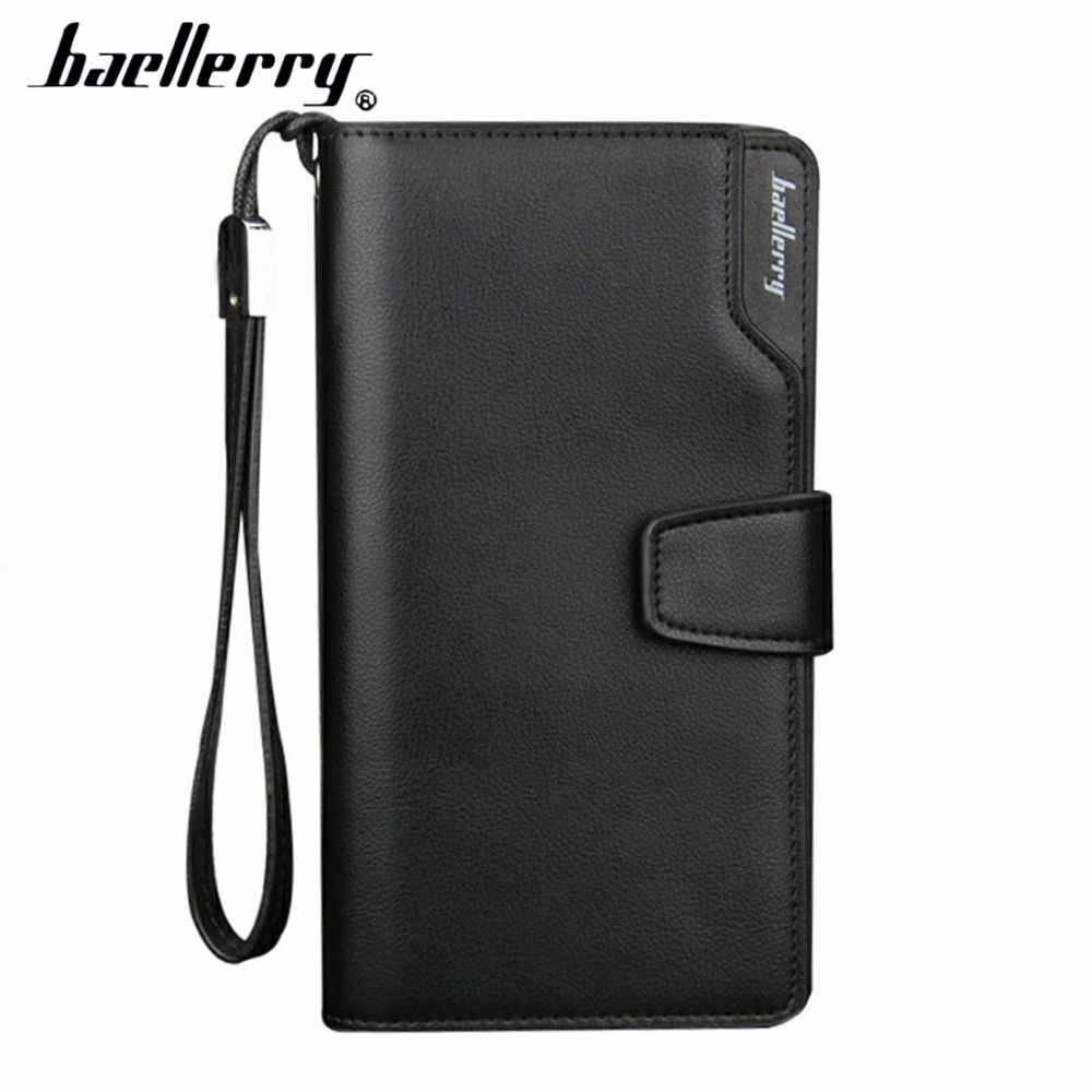 цена на Baellerry PU Leather Men Wallets Long Large Capacity Zipper Male Wallet Cell Phone Pocket Fashion High Quality Business Wallets