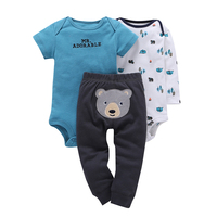 Baby Boys Girl Clothing Set 3pcs Set Gray Bear Trousers 2pcs Striped Climbing Clothes 0 2Y