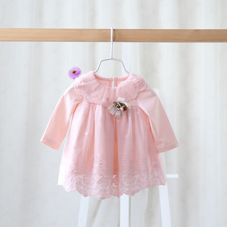 2016 spring autumn brand childrens wear dress for girls gauze lace dress baby sweet princess dress for girls baby clothes