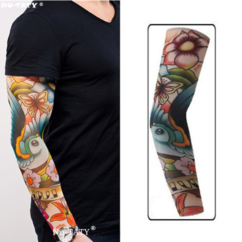 Nu-TATY Canary Flowers Man&woman Style Tattoo Sleeve Stockings Body Art Leggings Cool Boys Girls Party Wearings