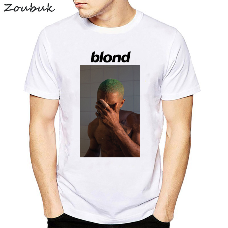 Frank Ocean Blonde T Shirt Men letter print tee shirt male white graphic Short Sleeve T-Shirt Top Tees for homme(China)