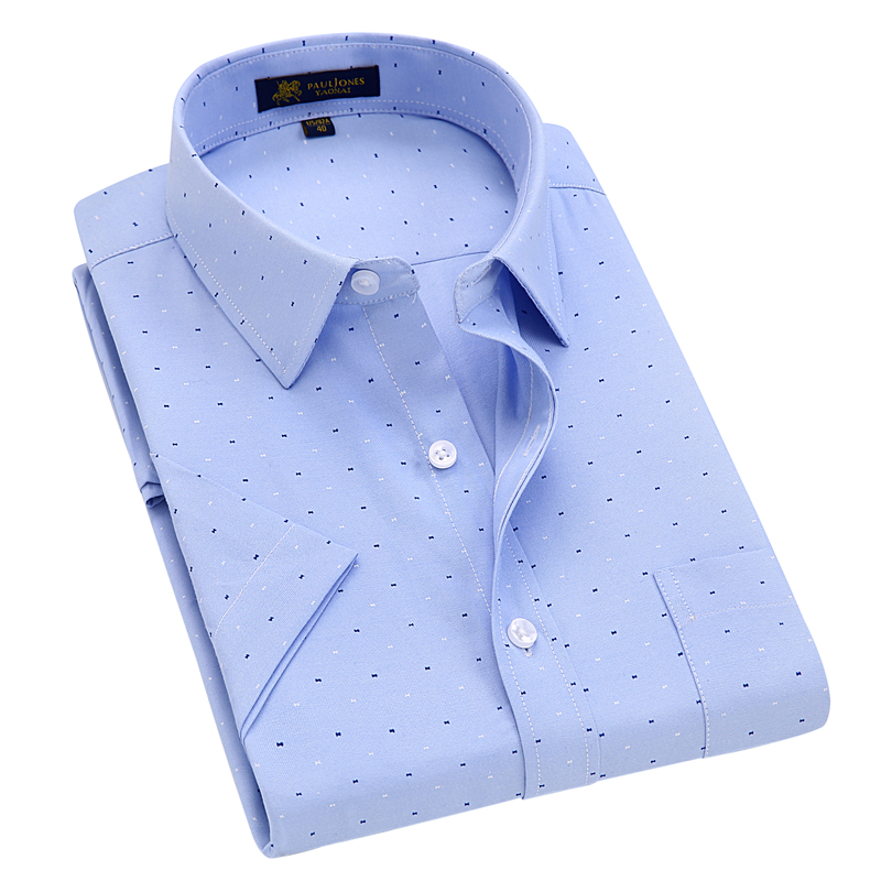Men's Short Sleeve Regular-fit Oxford Print Dress Shirt with Front Pocket High-Quality Thin Smart Casual Factory-direct-clothing