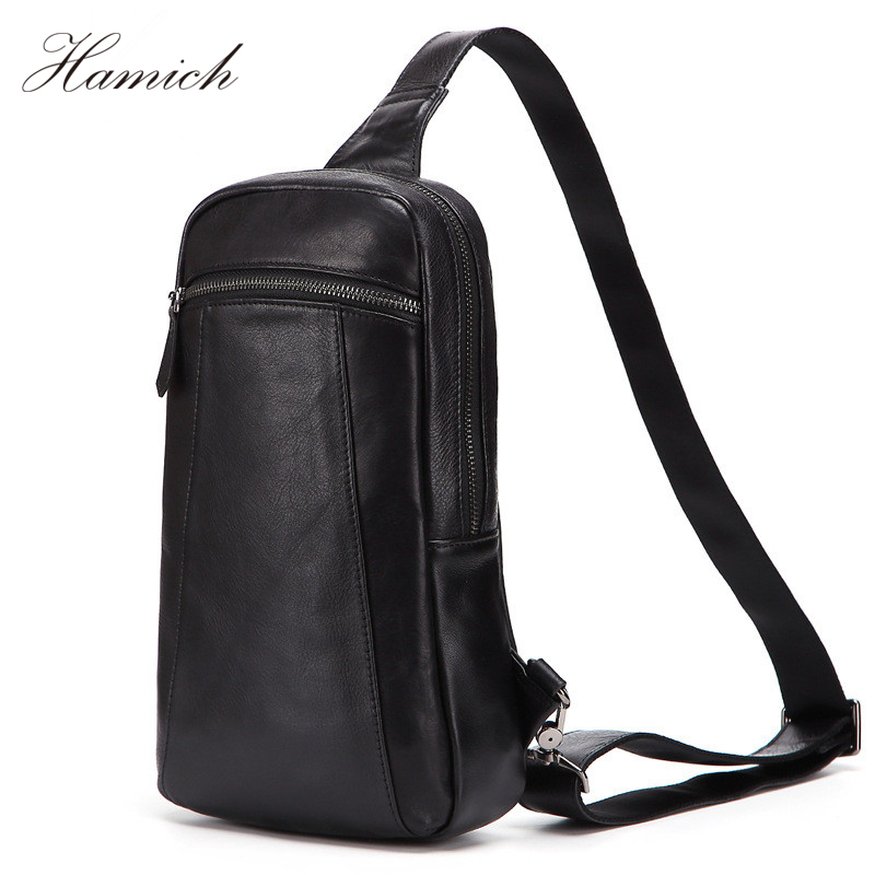 Hamich Genuine Leather Crossbody Bags Men Casual Messenger Bag Small Brand Design Male Shoulder Bag Chest Waist Pack mva genuine leather men s messenger bag men bag leather male flap small zipper casual shoulder crossbody bags for men bolsas