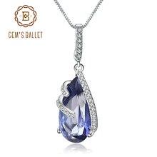 Gems Ballet 17.8Ct Natural Iolite Blue Mystic Quartz 925 Sterling Silver Vintage Necklaces & Pendants For Women Fine Jewelry