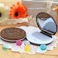 5 UNIDS Forma Galleta Chocolate Lindo Maquillaje Cosmético Del Espejo + peine de Señora Girl del Envío Libre Portable Venta 2017 Caliente de La Gota gratis
