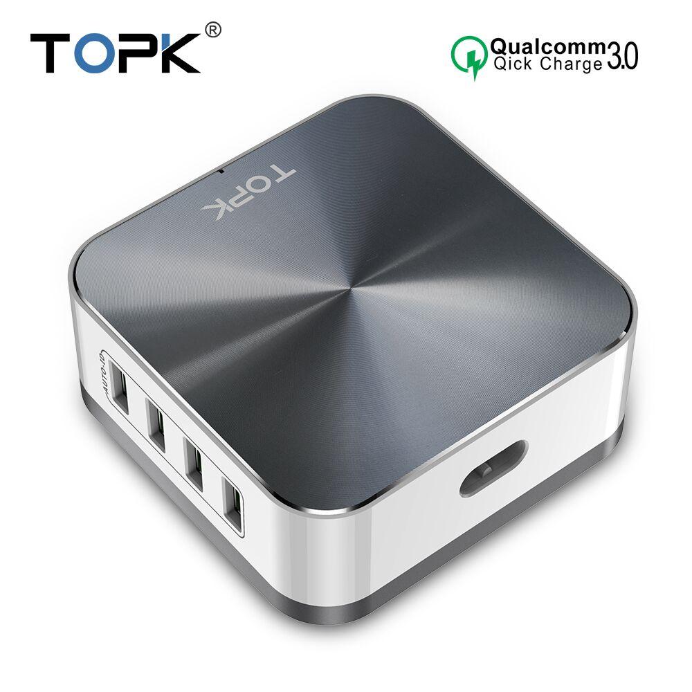TOPK B829Q 8-Port 50W Quick Charge 3.0 Carregador USB para o iphone Samsung Xiaomi Huawei UE EUA REINO UNIDO AU Plugue de Desktop Carregador de Telefone Rápido