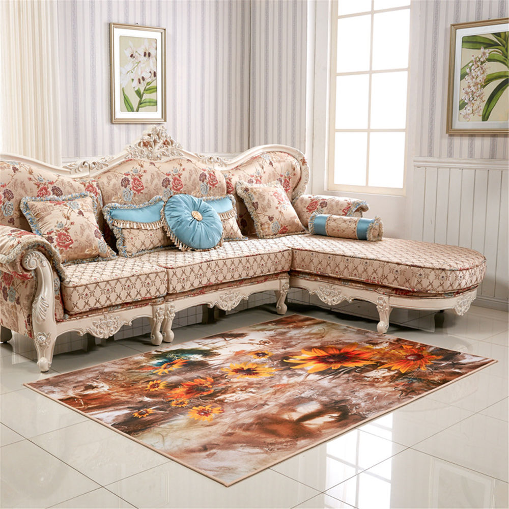 Minimalist Oil Painting Style Vintage Advanced Luxury Non Slip Mat Rug  Cushion Carpet For Bathroom