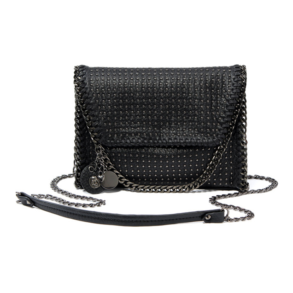 KEYTREND Women Shoulder Bags Rivet Chains Messenger Crossbody Bags PU Leather Small Black Handbags For Ladies Evening Bag KSB066 fashion handbags pu leather women shoulder bag mickey big ears shell sweet bow chains crossbody female mini small messenger bag
