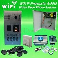Wifi IP Fingerprint Rfid Video Door Phone Intercom Kit Outdoor Doorbell Rfid Keypad Home Door Security