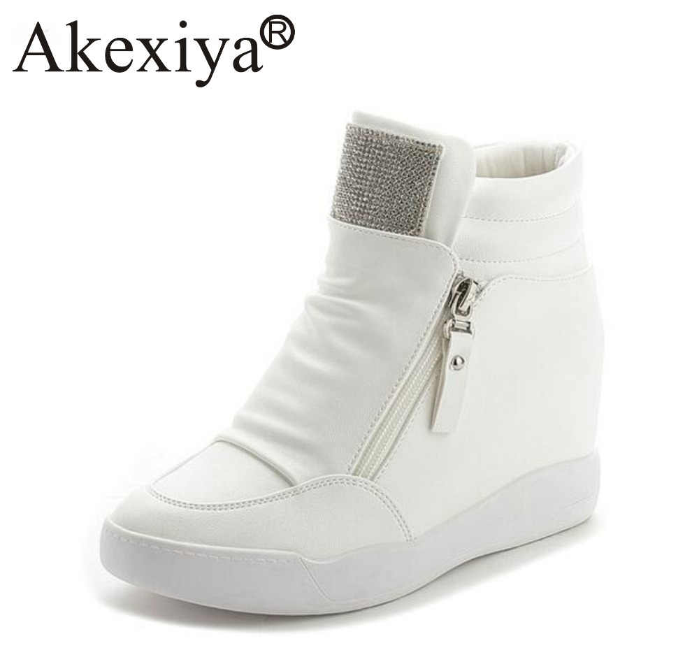 c1597d70f394 Akexiya Ladies White Rhinestone Wedge Sneakers Luxury Brand Women Super Running  Shoes Invisible High Heeled Shoes