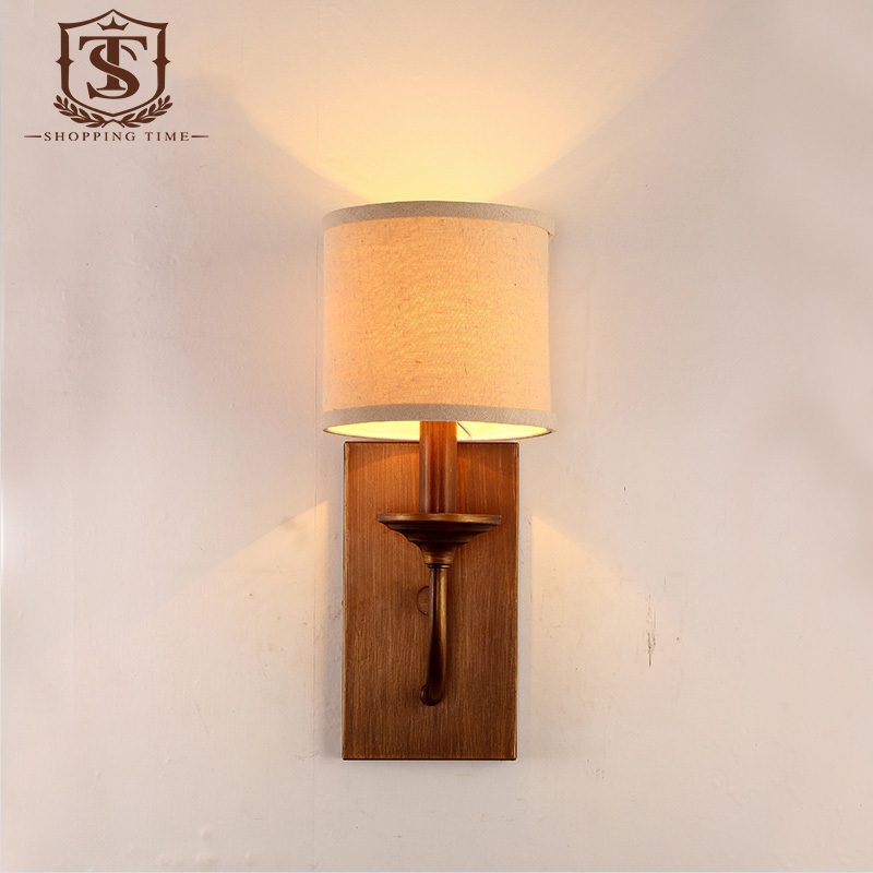 Modern simple design cast iron wall light antique bronze fabric modern simple design cast iron wall light antique bronze fabric shade wall lamp bedroom led corridor lighting yb256 in wall lamps from lights lighting on aloadofball Images