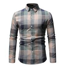 Mens Long sleeve Shirt Blouse clothing Slim fit Plaid Lattice Check Design Fashion Casual New