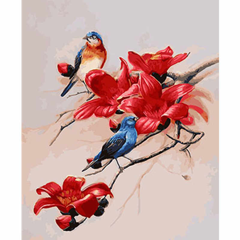 Birds Framed Pictures DIY Painting By Numbers DIY Oil Painting On Canvas Home Decoration Wall Art GX26182 40X50CM