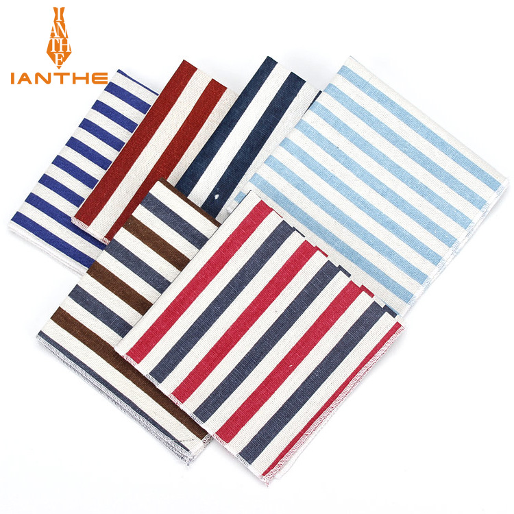 2018 Brand New Men's Fashion Linen Striped Pocket Squares For Men Square Handkerchief Wedding Vintage Suits Pocket Hankies Towel