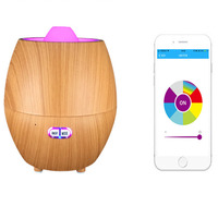 Smart APP contro Bluetooth audio humidifier Wood grain ultrasonic essential oil diffuser 350ml for Study Yoga Spa Office Bedroom