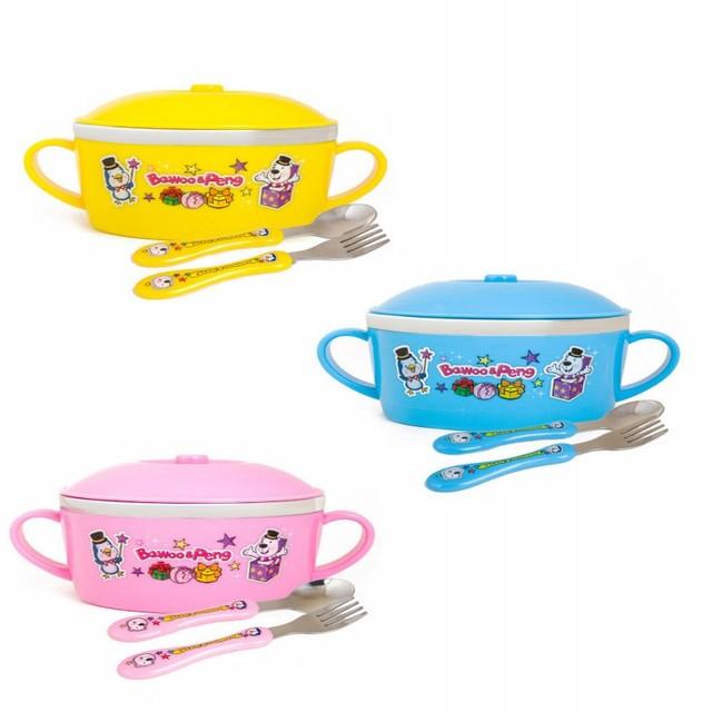 Baby baby talheres terno stainless steel tigela de arroz colher de plástico garfo auxiliar comida queda bonito dos desenhos animados crianças talheres