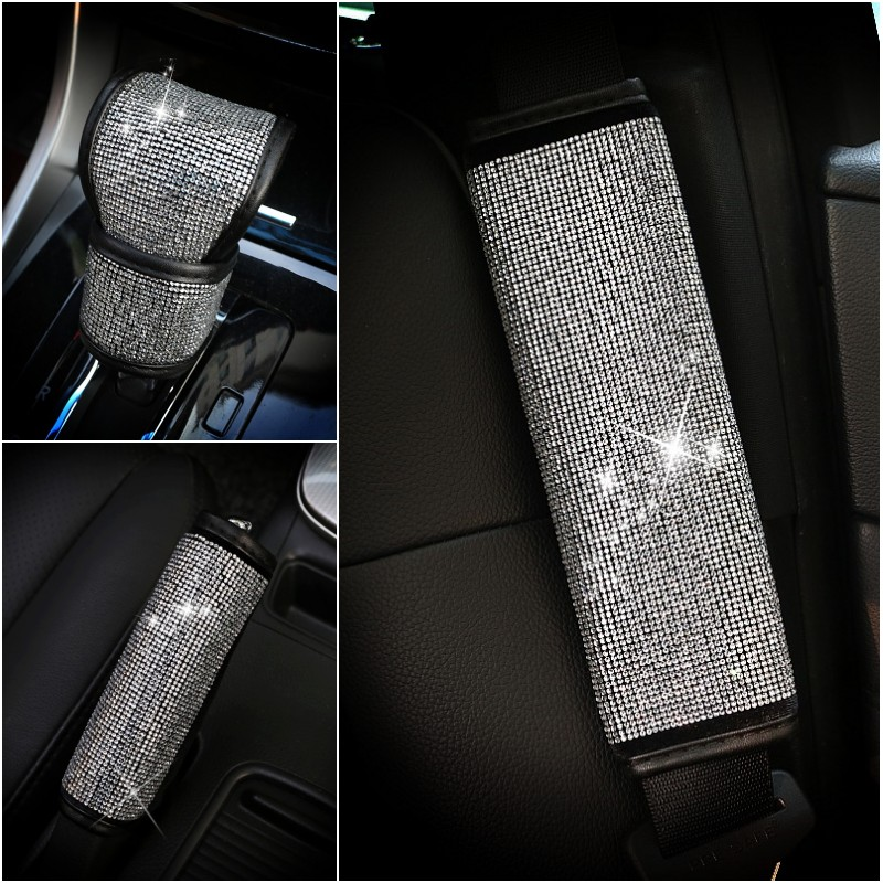 A&P-- luxury Diamond bling Handbrake / Shift knob / seat belt cover car accessories for girl lady gift