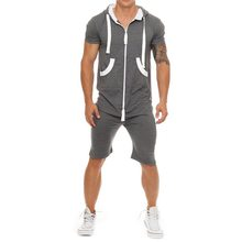 Summer Casual Men Tracksuit Jumpsuit Male Workout Overalls Short Sleeve Sweatshirt Hoodies and Joggers Shorts Romper Sportwear(China)