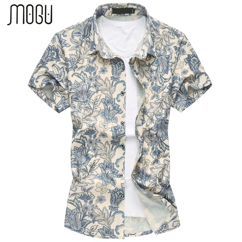 MOGU 2017 Män Point Collar Kortärmad Button Down Flower Pattern Shirt Tillfälligt Hawaiian Shirt Män Stora M-7XL Shirt