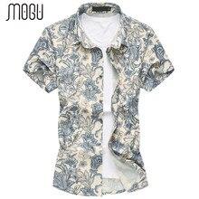 MOGU 2017 Men Point Collar Short Sleeve Button Down Flower Pattern Shirt Casual Hawaiian Shirt Men's Large Sizes M-7XL Shirt