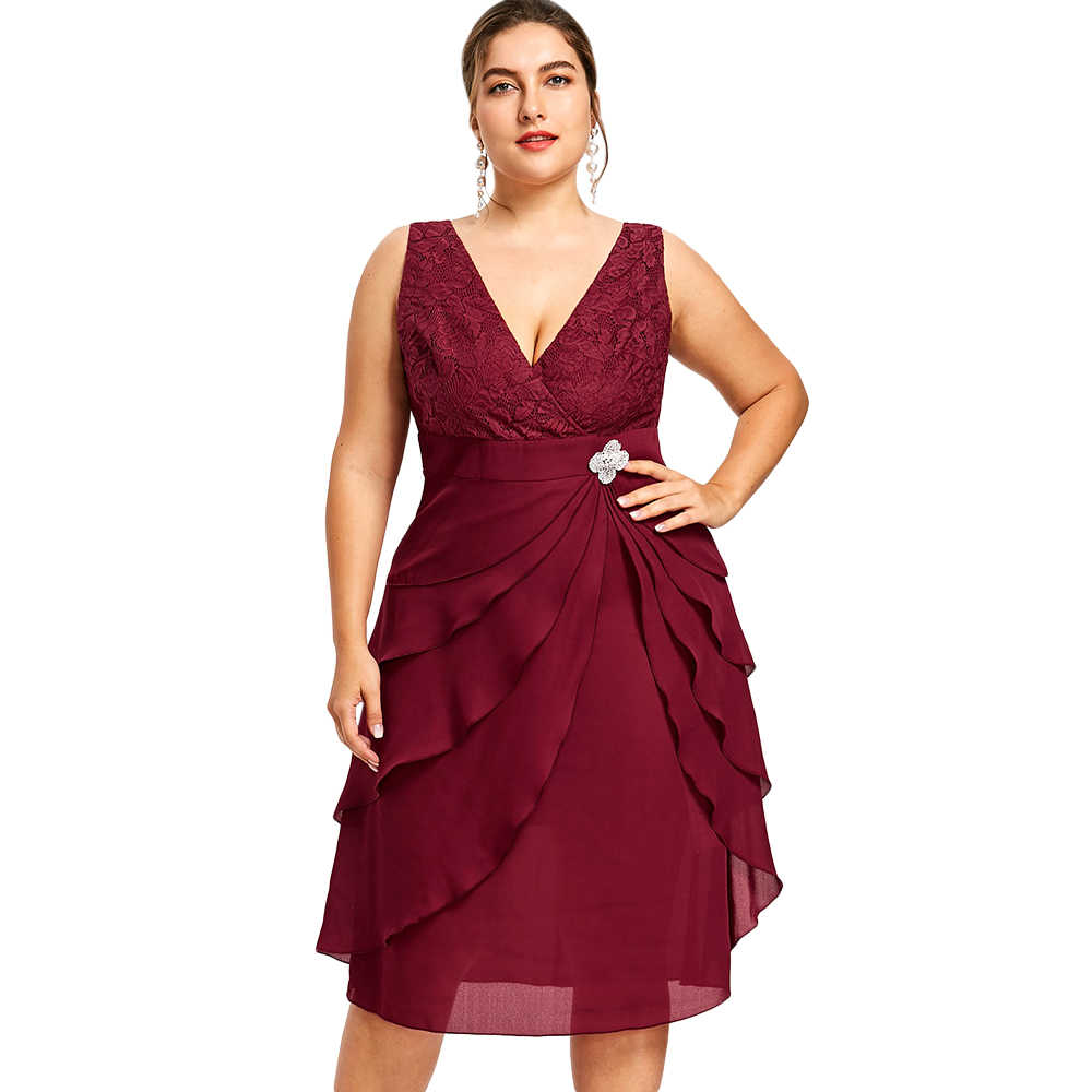 e2088a52a18 Gamiss Women Elegant Party Dress Plus Size 5XL Sleeveless Tiered Prom V Neck  Low Cut Dress