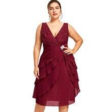 77b9c016e1 Wipalo kobiety elegancka sukienka na imprezę Plus Size 5XL bez rękawów  wielowarstwowa suknia V Neck Low