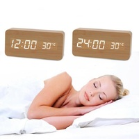 New Digital LED Alarm Clock Sound Voice Control Light Digital LED Time Humidity Display Wooden Alarm