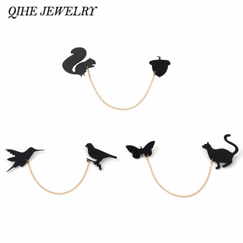 QIHE JEWELRY Animal tassel brooches Squirrels and pine cones,2 birds,cat and butterfly Linked Black Origami Brooches Badges