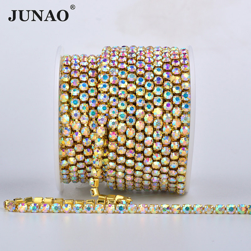 JUNAO SS6 SS12 SS16 SS18 Gold Base Sewing Rhinestones Dense Cup Chain Crystal AB Glass Appliques Metal Trim Strass Band