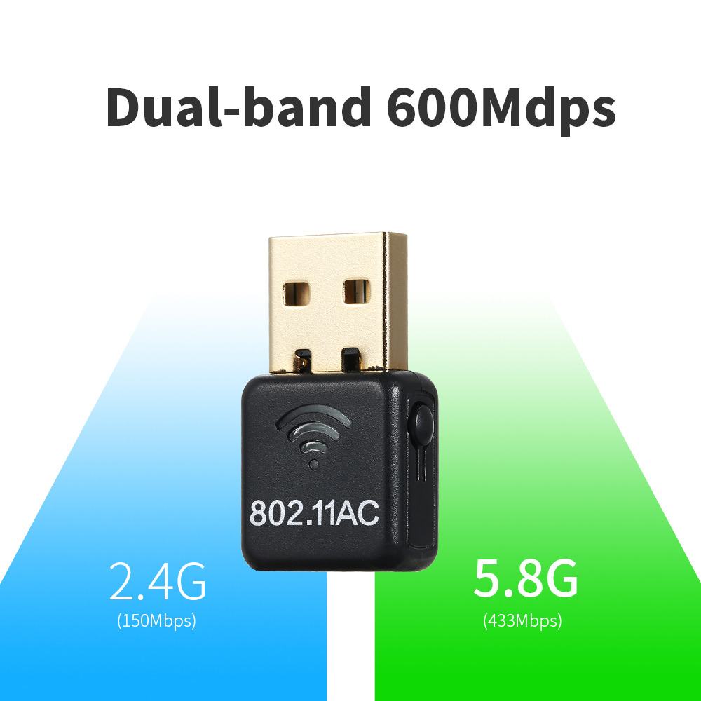 Wireless USB WiFi Adapter AC 600M Dual Band (2.4G/150Mbps+5G/433Mbps) Mini USB Wifi Network Adapter For Windows/Linux/MAC OS
