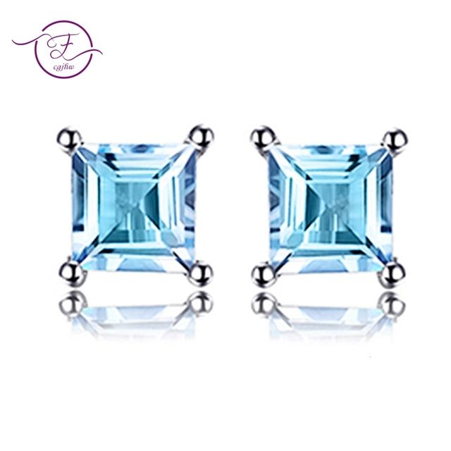 2745a3c27 925 Sterling Silver Square Cut Natural Sky Blue Topaz Beauty Stud Women's  Earrings Fine Jewelry FCGJHW