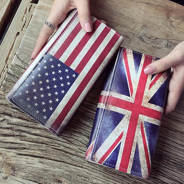 Women Wallets Lady Purses Retro UK Flag Pattern Moneybags Girls Handbag Coin Purse Long Clutch Wallet ID Cards Holder Burse Bags