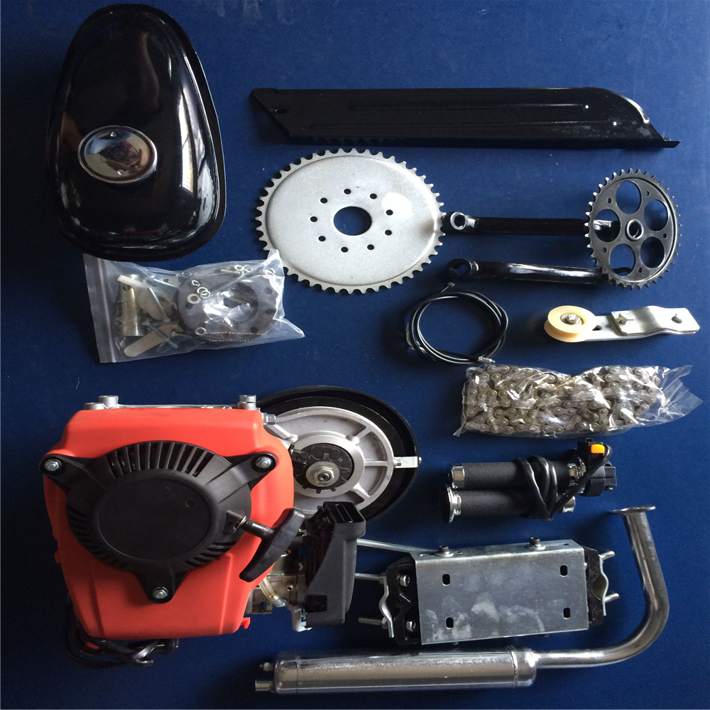 DY19BRIGHT 49CC Motorized Bicycle Kit Bike Engine Kit Single Cylinder 4-Stroke Gas Petrol Motorized Bike Engine Scooter Belt Gear US Stock