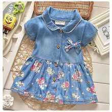 2016 Flower Girls Kids Baby Summer Short Sleeve Floral Bow Denim Dresses Peter pan Collar Princess Denim Dresses