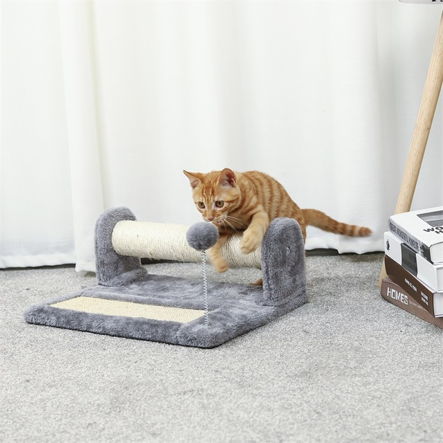 Ru Fast Delivery Natural Sisal Cat Tree Climbing Toys Scratcher Post Claws Pet Furniture For Small Kitty