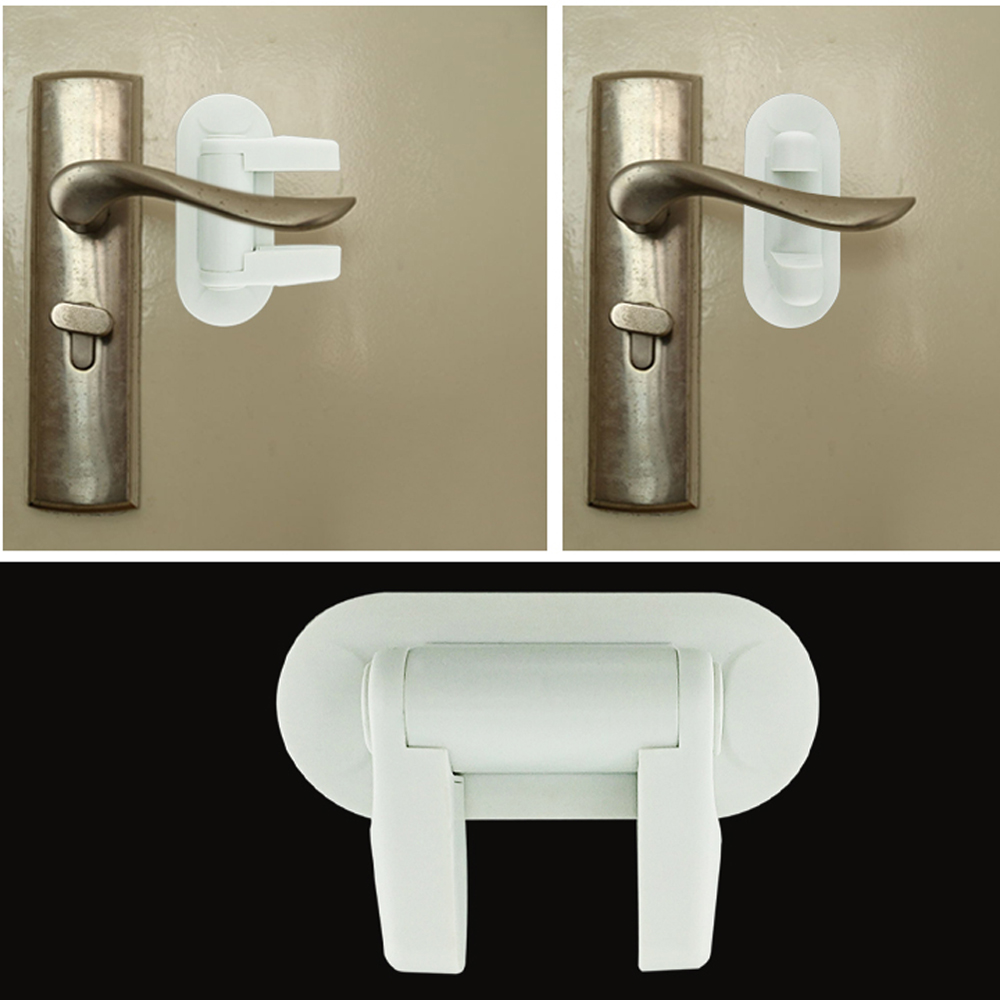 1//2pcs Door Lever Lock Child Proof Doors Handle Adhesive Child Kids Safety Tool