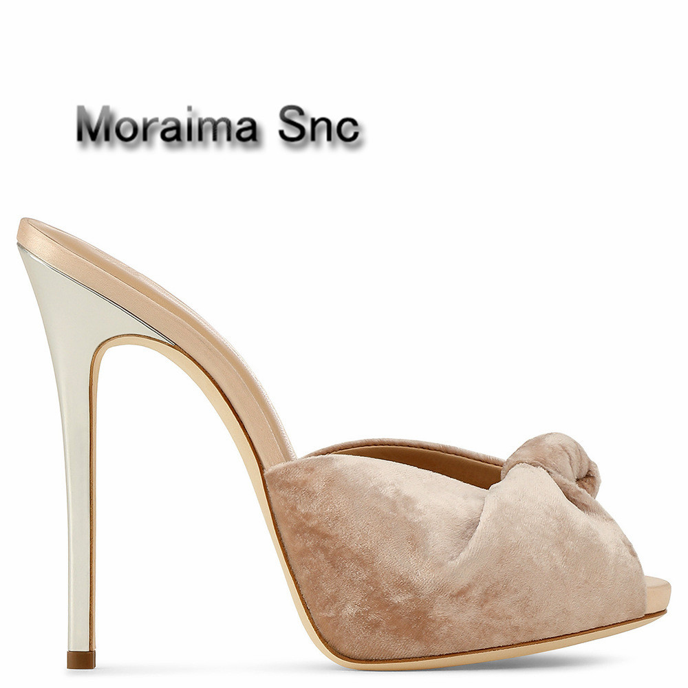 Moraima Snc brand women shoes Velvet pumps summer peep toe ladies shoes high heels slippers women butterfly-knot slides sandals moraima snc gladiator shoes black peep toe women wedges shoes color crystal butterfly knot platform high heels sandals women