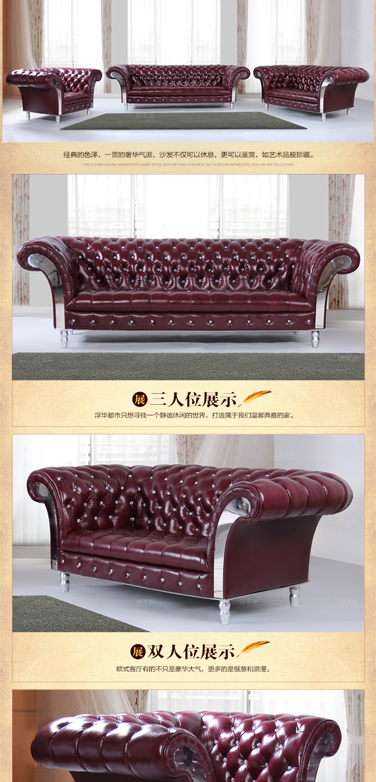 2019 Lorenzo New Classic Five stars Hotel Villa Leather Sofa Guangzhou  Burgundy Leather Sofa Luxury Leather Sofa OCS-F16R