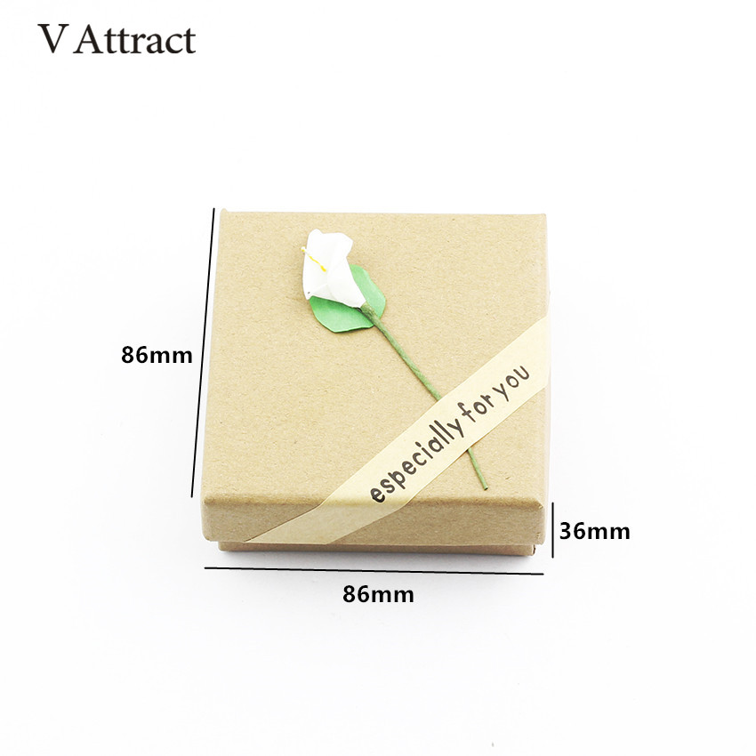 V Attract Fashion Lily Flower Earrings Bracelet Women Ring Necklace Gift Box Custom Jewelry Kraft Paper Cards Box Accessories